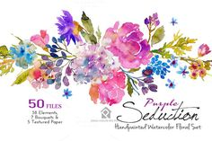 Purple Seduction- Watercolor Floral  by SmallHouseBigPony on @creativemarket