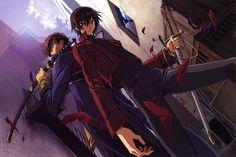Image d'anime 5386x3605 avec  code geass sunrise (studio) lelouch lamperouge kururugi suzaku highres absurdres male weapon sword petals katana