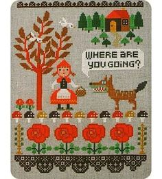 le petit chaeron rouge - Gera Little Red Riding Hood Gera Cross Stitch Cross Stitching, Cross Stitch Embroidery, Vintage Embroidery, Cross Stitch Designs, Cross Stitch Patterns, Flower Chart, Do It Yourself Decorating, Advent, Cross Stitch Rose