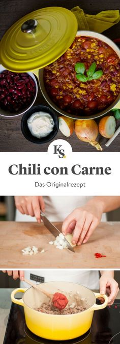 In this Learn how to prepare the best chili con carne you& ever tasted & hearty and spicy as you like it. The post Chili con carne appeared first on Food Monster. Authentic Mexican Recipes, Meat Recipes, Mexican Food Recipes, Snack Recipes, Con Carne Recipe, How To Cook Chili, Easy Smoothie Recipes, Kitchen Stories, Carne Asada