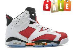 cb5479553ebfac Air Jordan 6 VI Retro 2014 - Chaussures Baskets Nike Jordan Pas Cher Pour Homme  Blanc Rouge 384664-160