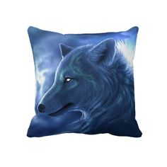 Unique, fashionable, trendy and cool throw pillow with beautiful blue wolf image on one side, and striped pattern on the other. For the lover of wildlife animals such as wolves, nature or hunting. Cute kid's, mom's or dad's birthday present, Father's or Mother's day, or Christmas gift. Original, pretty and fun pillow for the master, boys or children's bedroom, man cave, living or family room, cabin, beach house, cottage or vacation home.