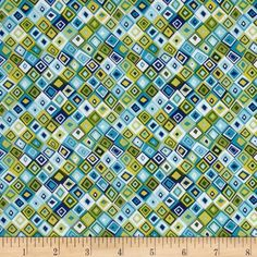 Jolly Farm Geometric Blue from @fabricdotcom  Designed by The Henley Studio for Makower UK, this cotton print fabric is perfect for quilting, apparel and home decor accents. Colors include shades of green and shades of blue.
