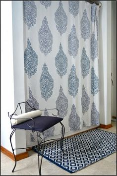 A paisley shower curtain from West Elm that can be achieve by stenciling the Sari Paisley.