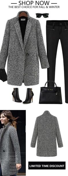 Houndstooth Coat Slim Thick Overcoat – Chic comfortable coats for women, spend … – Bijoux Trends Mode Outfits, Winter Outfits, Casual Outfits, Fashion Outfits, Winter Clothes, Women's Fashion, Fashion Trends, Coats For Women, Jackets For Women
