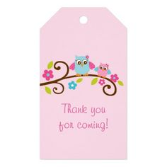 Pink Owl Party Favor Tags Pack Of Gift Tags