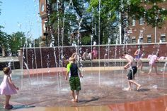 FREE Interactive Water Fountains at Falls River Square in Cuyahoga Falls, Ohio - picnic tables, concessions and restrooms available. Boardwalk with shops.