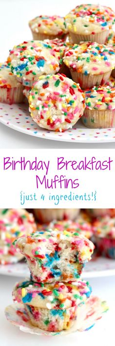 A cake mix, bananas, applesauce and sprinkles are all it takes to make these fun and yummy Birthday Breakfast Muffins for a special birthday breakfast! Breakfast Muffins, Breakfast Cake, Breakfast For Kids, Best Breakfast, Breakfast Healthy, Brunch Cake, Kids Birthday Breakfast, School Breakfast, Morning Breakfast