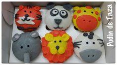 Cupcakes animales de la selva.  Sabor a  chocolate