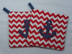 Pot Holder Anchor Applique Embroidered Hot Pad Set by OwlTakeThat