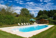 Private heated pool with sun loungers