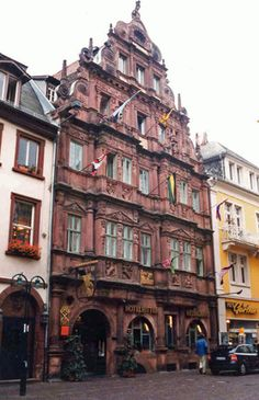 Georg in Heidelberg Germany. Built in 1592 a glorious old inn right out of the German Renaissance. Most Romantic Places, Wonderful Places, Amazing Places, The Places Youll Go, Places Ive Been, Places To Visit, Moving To Germany, European Vacation, Renaissance Fair