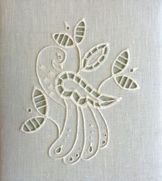 Whitework (Broderie Anglaise/Richelieu) - Deb Wilding by Love Stitch! Basic Embroidery Stitches, Cutwork Embroidery, Types Of Embroidery, White Embroidery, Embroidery Techniques, Indian Embroidery Designs, Machine Embroidery Designs, Embroidery Patterns, Drawn Thread