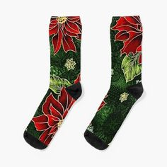 Green Christmas, Christmas Themes, Christmas Gifts, My Socks, Crew Socks, Floral Socks, Red Green, Looks Great, Women's Fashion