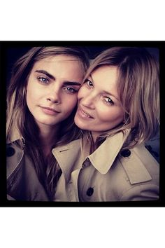Cara and Kate Moss For Burberry