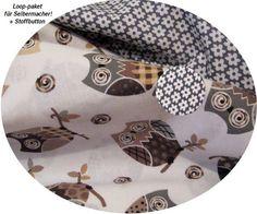*Stoffpaket♥Loop♥ f.Selbermacher-Eulen-hell mit Streublümchen + Stoff-Button  graue,beige... Eulen heller Hintergrund treffen auf grau/weisse Streu...