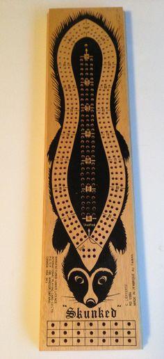 Beware the Skunker - skunked - skunk cribbage board