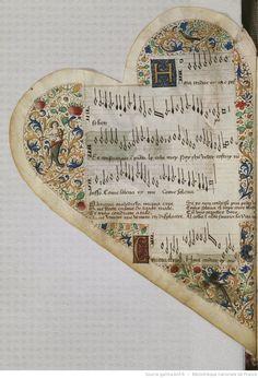 Titre :  Chansonnier cordiforme de Montchenu. RECUEIL de Chansons italiennes et françaises.  Date d'édition :  1470-1480  Rothschild 2973  Folio NP