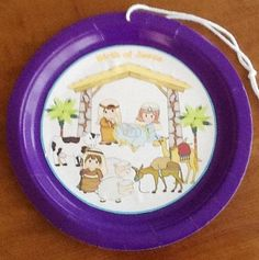 Birth of Jesus paper plate printables - smaller plate and hang on tree or add magnet for fridge