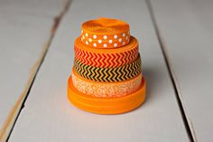 FOE Sample Pack - Orange Sample Pack - Orange White Polka Dot FOE - Halloween FOE - 10 Yards on Etsy, $9.25