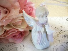 Angel Figurine Porcelain Ornament Kneeling Praying First Communion Girl with…