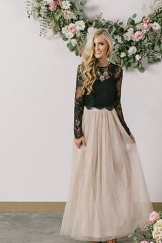 Black Lace Prom Dress,Two Pieces Long Sleeve Prom Dress,Custom Made Evening - Dresses Holiday Outfits, Holiday Dresses, Christmas Party Dresses, Prom Dress Two Piece, Winter Wedding Guests, Winter Wedding Outfits, Winter Maternity Outfits, Winter Wedding Colors, Winter Wonderland Wedding