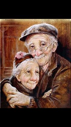 Grandparents / old couple DIY Diamond Painting Kit. Crystal Round Drill diamond painting with full pasting area. This is a timeless piece that looks good in any decor and makes the perfect addition to your Diamond Art Collection. Elderly Couples, Old Couples, Elderly Man, Elderly Person, Growing Old Together, Old Folks, Animation, Belle Photo, Getting Old