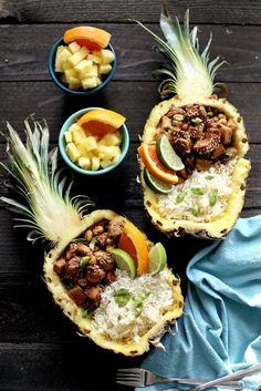 Pineapple Chicken Teriyaki boats are a fun and easy recipe for summer! Bursting with fruit flavor and succulent chicken placed in a fun pineapple boat with floral rice. Click through for a fun dinner recipe for any occasion! Chicken Teriyaki Rezept, Teriyaki Pineapple Chicken, Teriyaki Bowl, Best Dinner Recipes, Summer Recipes, Asian Recipes, Healthy Recipes, Chicken Recipes, Food Photography