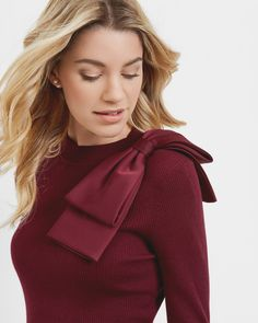 51b4d2ed79951 Shop for Ted Baker Bow Detail Ribbed Sweater Maroon from Ted Baker at  Westfield. Browse the latest styles online and buy from a Westfield store.