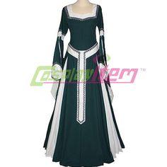 Custom Made Dark Green & Ecru Medieval Renaissance Victorian šaty kostým pre gotické a fantázie strán