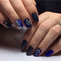 Black and blue nails, Christmas gel polish, Nails trends 2017, Nails with stars, Nails with stones, New year nails ideas 2017, Painted nail designs, Party nails ideas