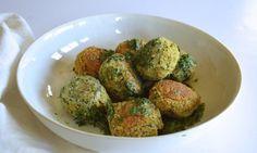 "Broccoli, White Bean + Ricotta ""Meatballs"" With Herbed Tahini Yogurt (sub Ener-G egg replacer, Tofutti ""Better Than Ricotta"", vegan parmesan, and vegan yogurt)"