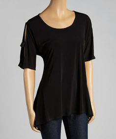 Another great find on #zulily! Black Cutout Top - Women & Plus by Come N See #zulilyfinds