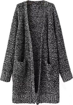Neestaa Women Casual Loose Pocket Long Wool Knitted Sweater Cardigan Coat Jacket