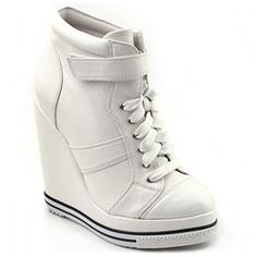 SHOESONEBIZ 0886 White Velcro Enamel-toe Wedge Sneakers Korean Shoes SHOESONE