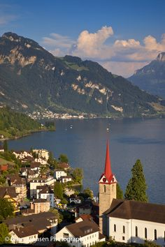 View over the town of Weggis on the shore of Lake Lucerne, Switzerland. © Brian Jannsen Photography