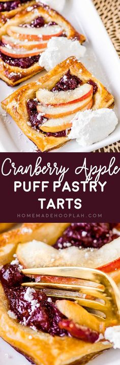 Cranberry Apple Puff Pastry Tarts! These flaky and golden puff pastry tarts flavored with sweet cranberry apple are perfect for fall entertaining. Makes for a great appetizer or dessert! #ad #InspiredByPuff @PuffPastry | HomemadeHooplah.com