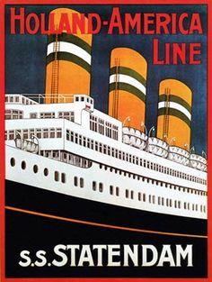 24x32 Art Holland America Line 1929 Statendam Cruise Vintage Style Travel Poster