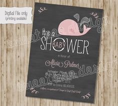Whale Shower Invitation Chalkboard Whale by SweetBeeDesignShoppe, $12.00