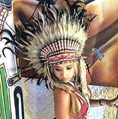 Federhaube Indianer, Karneval, Fotoshooting, Dekoration Kopfschmuck coiffe indienne Real Feather war bonnet Headdress Chief War bonnet Real Feathers Indian Headdress Little Big Horn