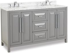 Cabinet Boxes - Vanity Cabinets - Page 15 - Cabinet Now Gray Vanity, Wood Vanity, Vanity Cabinet, Cabinet Boxes, Jeffrey Alexander, Beveled Glass, Edge Design, Marble Top, Adjustable Shelving