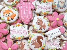 """**PLEASE CONTACT ME BEFORE PURCHASING A LISTING OR ORDERING FOR AVAILABILITY. MY MINIMUM ORDER IS 2 DOZEN**  This listing is for 1 dozen (12) Woodland Baby Shower  Order will include the following:  (2) Onzie (2) Name (2) Fox (2) Deer (2) Flower (2) Squirrel  ** cookies can be substituted for others in the photo ** ** FOR ORDERS LOCAL TO THE CLEAR LAKE, TX AREA, IF PICKING UP YOUR ORDER ENTER COUPON CODE """"LOCAL"""" TO AVOID SHIPPING CHARGES **   All of my cookies are freshly baked and come…"""
