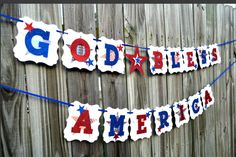 July 4th Banner, July 4 Banner, Patriotic Banner, July 4 Burlap Banner, Summer Banner, Red White Blue, 4th of July Bunting,God Bless America by NishsCreations on Etsy Creative Banners, Summer Banner, 4th Of July Outfits, July Wedding, Glitter Cardstock, Birthday Dinners, Red Glitter, God Bless America, Blue Ribbon