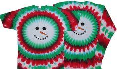 Tie Dyed Shop Christmas Snowman Tie Dye T Shirt-Shortsleeve-3X-Multicolor