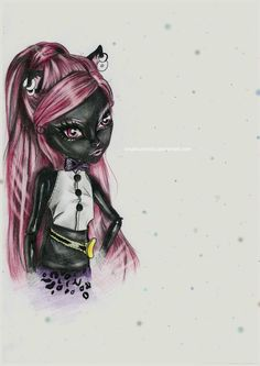 Monster High fanart - Catty Noir by Inna Krumholz / InnaKrumholz Monster High Art, Monster High Custom, Catty Noir, Speed Paint, Pink Love, Face Art, Painting & Drawing, Deviantart, Drawings