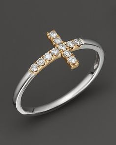 Thumb ring??  Diamond and 14K White and Yellow Gold Cross Ring, .15 ct. t.w. | Bloomingdales