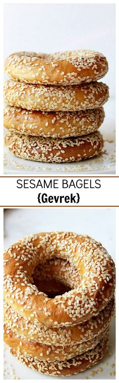 Sesame Bagels - Delicious, chewy, yet soft bread-snack, shaped into a ring, dipped in honey and water, topped with sesame seeds and baked.