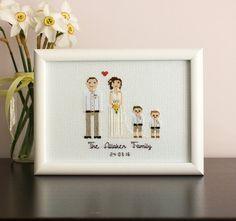 Custom WEDDING Cross Stitch Family Portrait, Custom Portrait, Second Anniversary Gift, Wedding Day