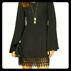 Black & Lace Sleeve Shift Dress