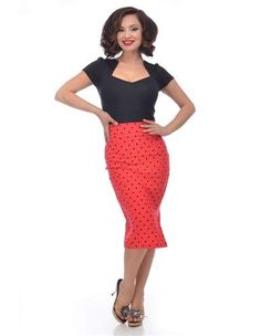 If you loved our Diva Polka Dot Dress, then you will be over joyed with the Polka Dot Pencil Skirt. This eye catching skirt will not only have you stand out in